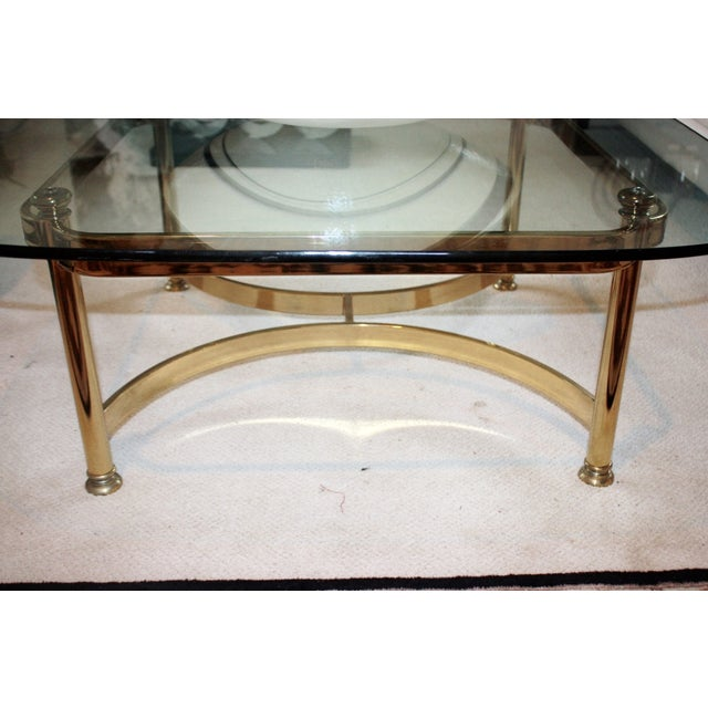 Heavy brass glass beveled coffee table chairish for Heavy glass coffee tables