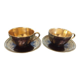 Antique Carlsbad Porcelain Demitasse Cups - A Pair