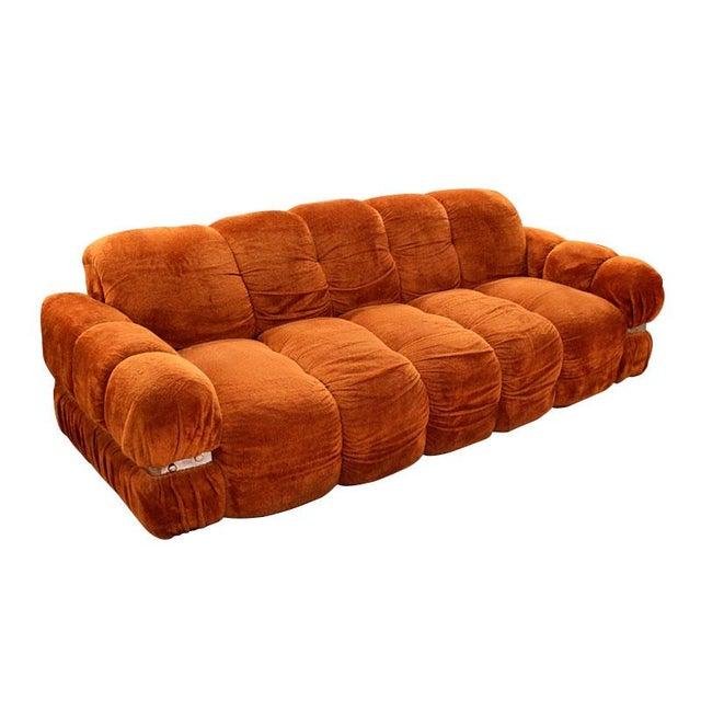 Vintage 1970s Velvet & Chrome Sofa - Image 1 of 6
