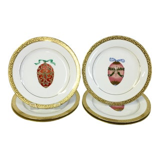 Faberge Egg Motif 22K Salad/Dessert Plates - S/6