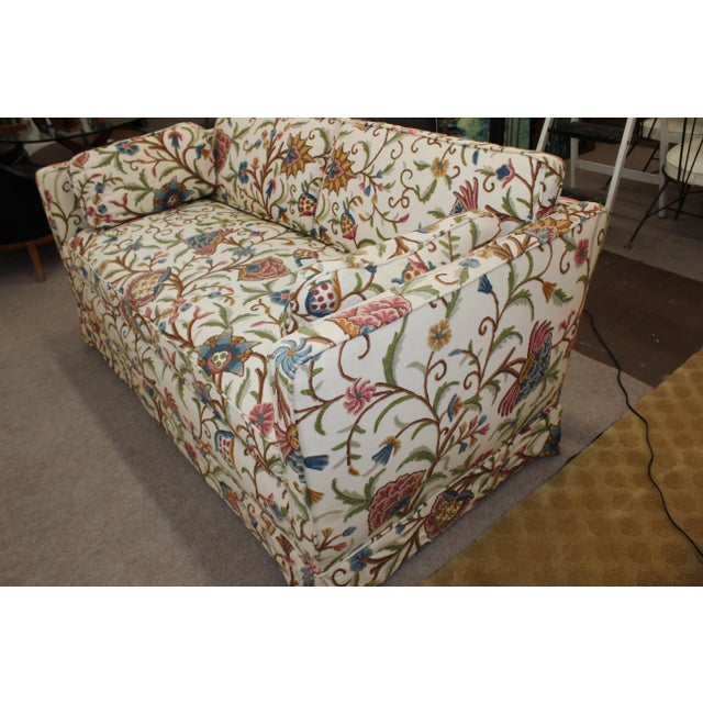 Mid-Century Modern Floral Sofa Settee - Image 9 of 10