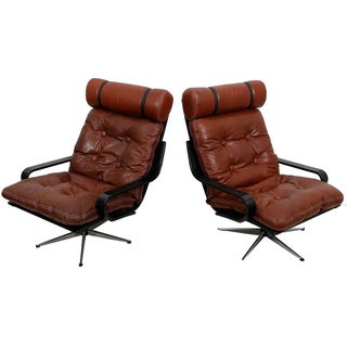 Leather & Chrome Danish Loungers - A Pair
