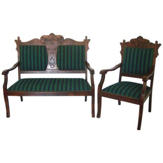 Mahogany Bench Settee & Matching Arm Chair