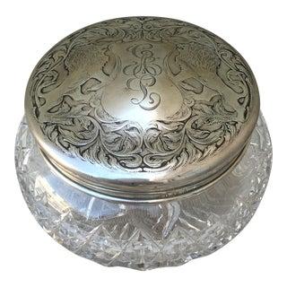 Rare Sterling & Cut Crystal Vanity Powder Jar