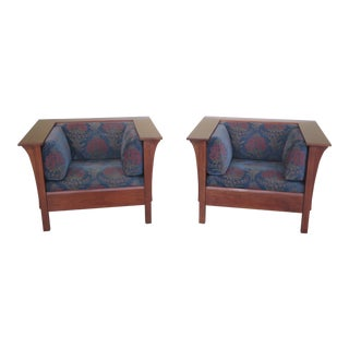 Stickley Mission Style Cherry Cube Chairs - a Pair