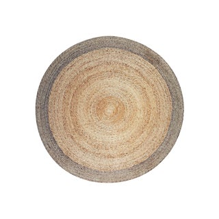 Round Hemp Rug with Pewter Border - 5″ × 5″