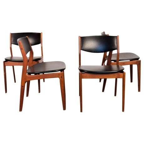 Four Scandinavian Teak Dining Chairs - Image 1 of 7