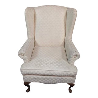 Vintage White Upholstered Wingback Armchair