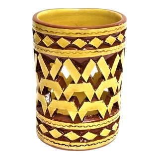 Moroccan Handpainted Yellow Ceramic Tealight Cup Holder