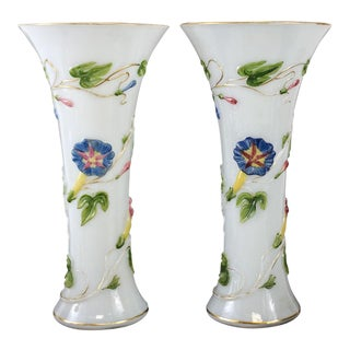 Pair Baccarat Opaline Art Glass Vases, Hand Painted Embossed Florals Circa 1900