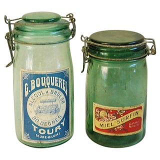 Early 1900s French Preserve Canning Jars - A Pair