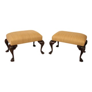 Georgian Style Carved Mahogany Stools - A Pair