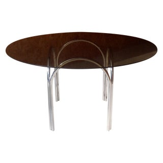 Milo Baughman Style Smoked Glass & Chrome Table