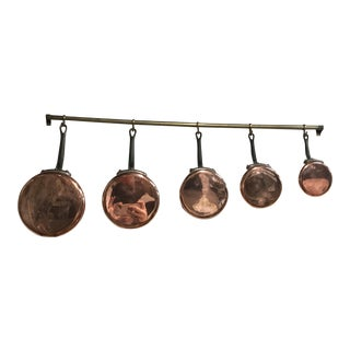 Antique French Wall Pot Rack & Copper Pots