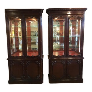 Chinese Chippendale Style Vitrine Cabinets - A Pair