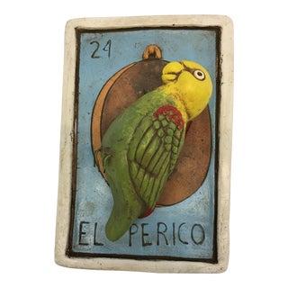 """El Perico"" Parrot Hanging Loteria Plaque"