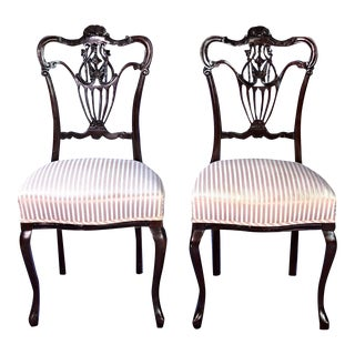 French Style Carved Accent Chairs - A Pair