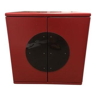 Red Enamel Storage Cube