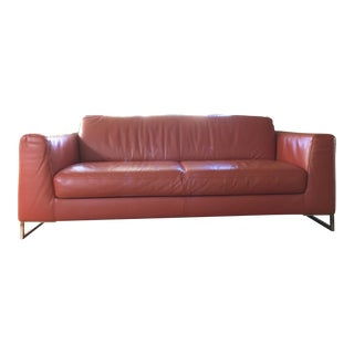 Dark Orange Leather Sofa