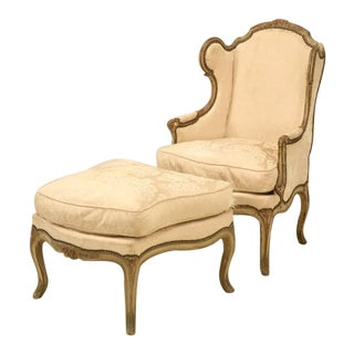 Louis XV Style French Antique Bergere and Ottoman in Original Paint
