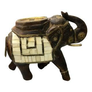 Brass & Bone Inlaid Wooden Elephant
