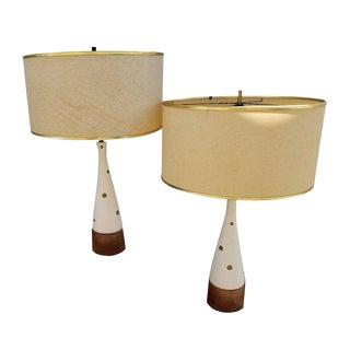 Mid-Century Modern Teak & Plaster Polka Dot Lamps - A Pair