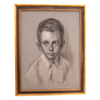 Charcoal Portrait of Boy Vintage in Frame