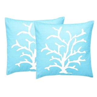 Dana Gibson Coral in Turquoise Pillow - A Pair