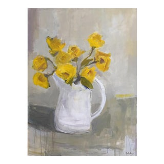 Yellow Roses in White Pitcher Still Life Painting