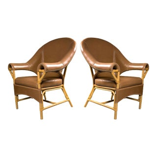 Tan Leather and Rattan Chairs - A Pair