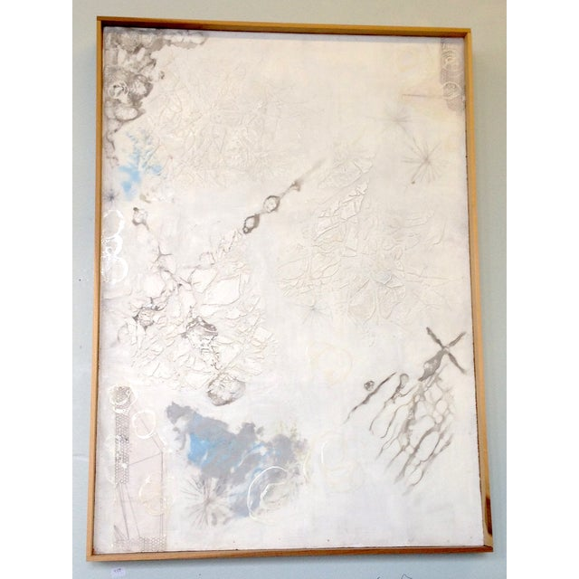 White Neutral Monochromatic Encaustic Painting - Image 2 of 5