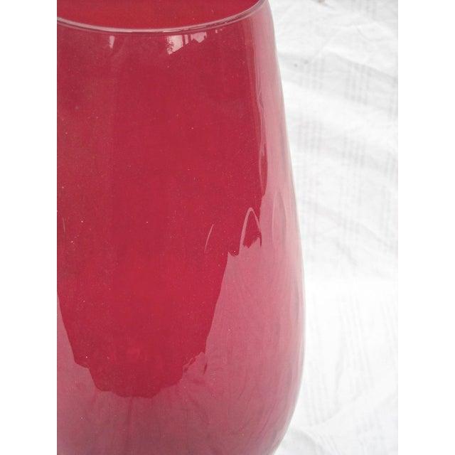 Image of Mid-Century Art Glass Vase Optic Red