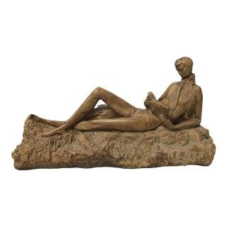 Clay Reading Boy Sculpture
