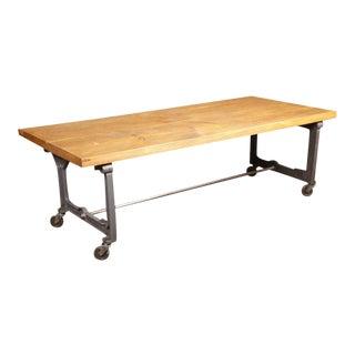 Vintage Industrial Rustic Wood Steel Cast Iron Rolling Display Coffee Table