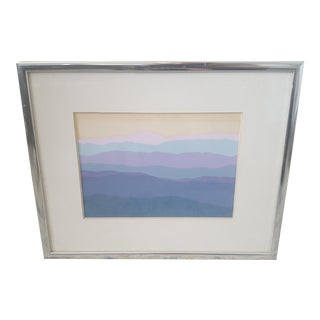 Vintage Abstract Mountain Scene Framed and Matted