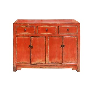 Distressed Rustic Orange Red Sideboard Buffet