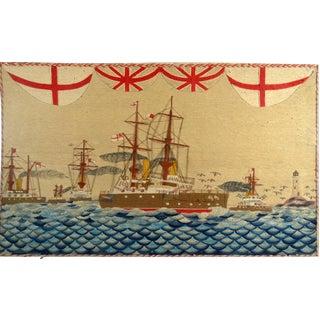 Sailor's Woolwork of Five Royal Navy Battleships on Unusual Seas