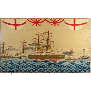 Sailor's Woolwork of Five Royal Navy Battleships on Unusual Seas
