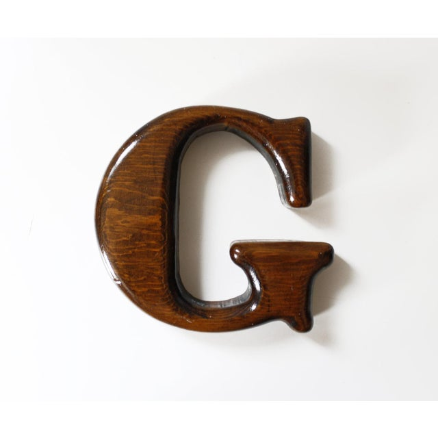 Vintage letter g wood sign wall hanging wall decor chairish for Letter g wall decor