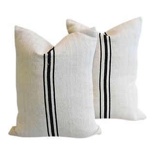 Custom French Homespun Grain Sack Feather/Down Pillows - Pair