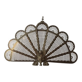 Vintage Brass Fan Fireplace Screen
