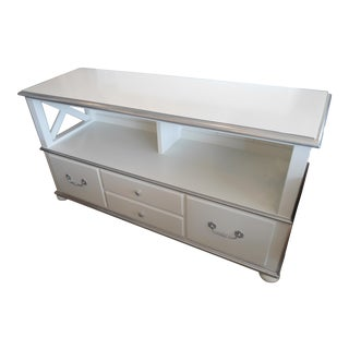 Ethan Allen White & Silver Filing Console / Media Cabinet