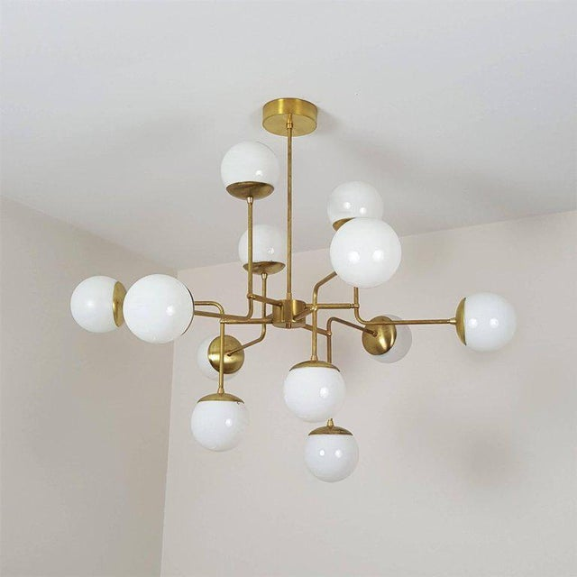 Classic Italian Modern Brass Chandelier With Glass Globes, Model 420 - Image 6 of 7