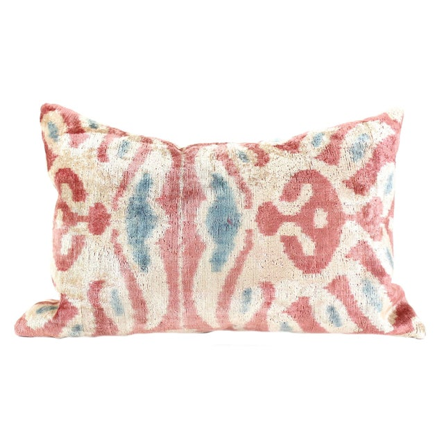 Pink Silk Ikat Velvet Pillow - Image 1 of 3