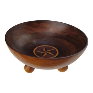 A Richly-Patinated English Rosewood Treenware Bowl with Inlaid Star Motif
