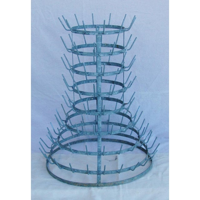 Early 1900s French Zinc Bottle Drying Rack - Image 2 of 9