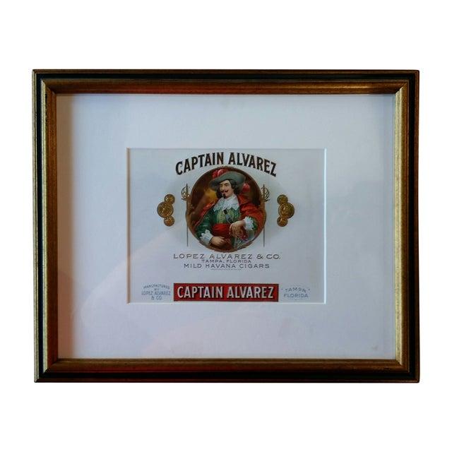 Cigar Box Wall Art: Custom Framed Captain Alvarez Cigar Box Label