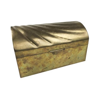 Vintage Mid-Century Solid Brass Treasure Chest With a Beautiful Shell / Wave Pattern on Top