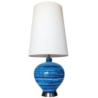 Mid-Century Variegated Blue Striped Glazed Ceramic Lamp