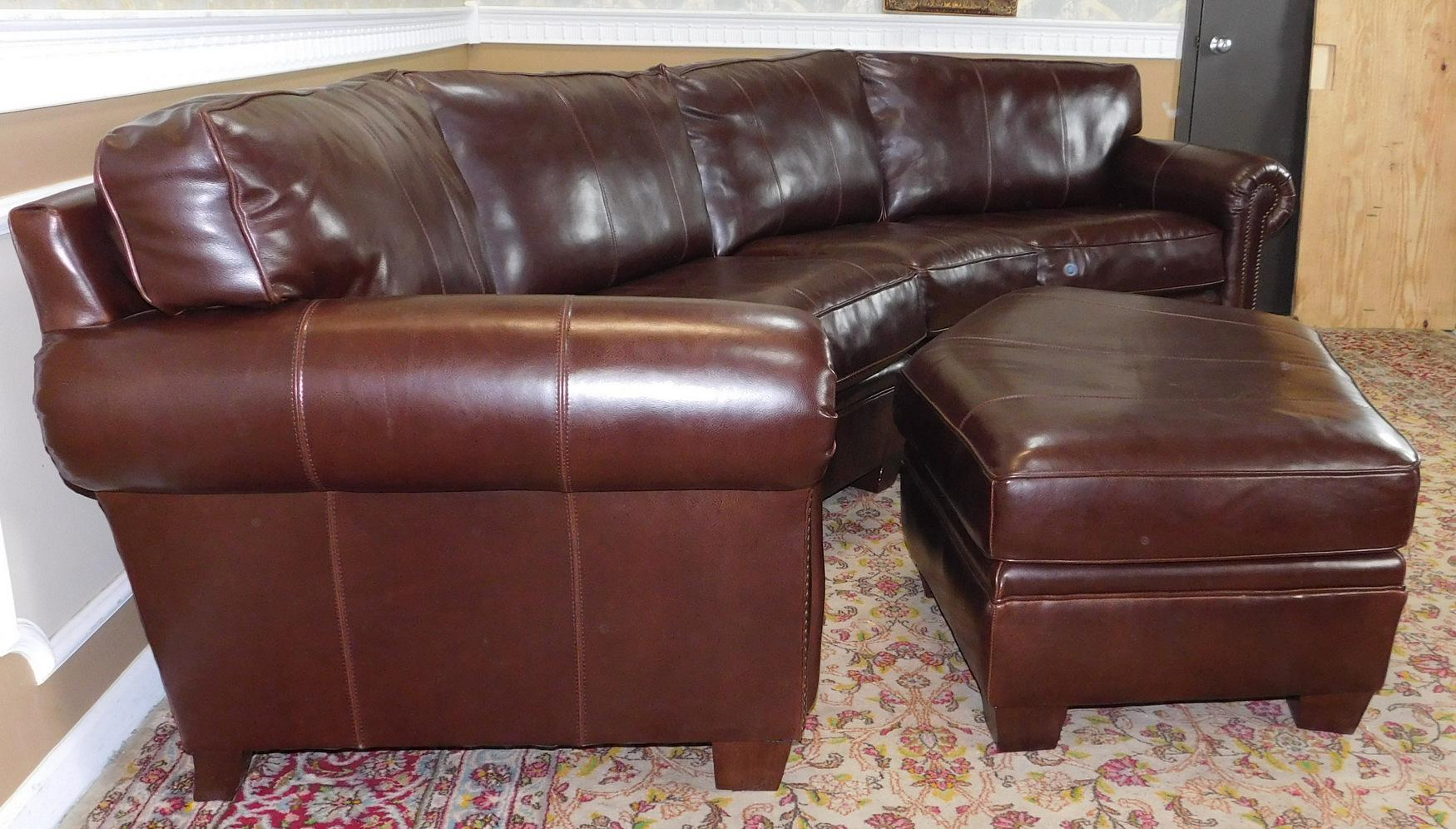 3-Piece Bernhardt Brown Leather Sectional Sofa u0026 Ottoman - Image 7 ...  sc 1 st  Chairish : bernhardt sectional leather - Sectionals, Sofas & Couches